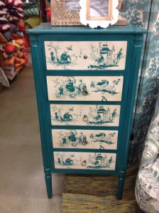The Camille Tall Chest is very on-trend. I feel like everyone wants pieces with bold colors and stenciling right now. At $420 it's a pretty good option.