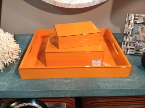 Lacquered tray and boxes