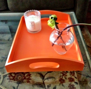 lacquered orange tray
