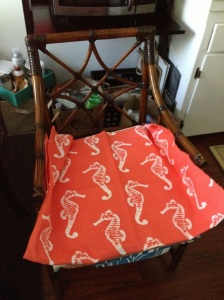 I LOVE the beachy feel of the seahorse print. I think I will make this cushion first, even if it is out of season. The bright coral reminds me of the south!