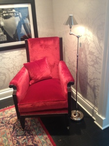 Red. Velvet. So luxe, you just have to sit in it.