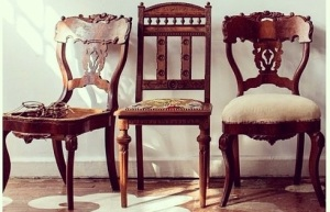 Add chairs like these babies from Chairloom/ the cover of Anthology Magazine.