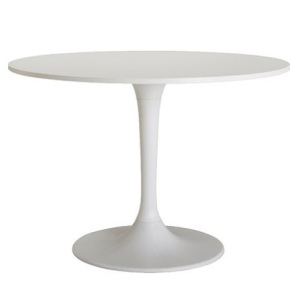 Here's what I'm thinking: a white tulip table. Mid century modern in a mid century space. Not very original, but stay with me here...