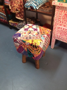 These stools are awesome! They also have some really cool poufs made with similar fabrics.