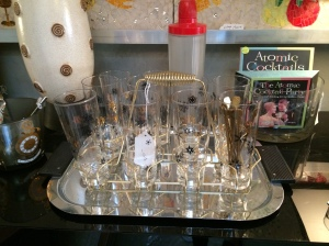 I love these retro chic glasses with a caddy.