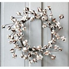 I love the idea of a wreath made out of cotton bolls. I found this photo on Pinterest.
