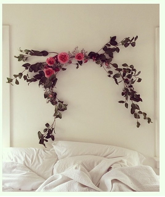 This is just so pretty and not too overdone. I love the idea of fresh flowers above the bed. Unfortunately, I did not save who posted this photo, so if you know, let me know so I can give them credit!