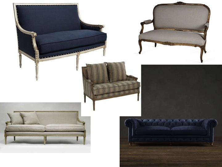 All of these except the bottom right are random photos from Houzz. The bottom right is a custom sofa from Restoration Hardware.