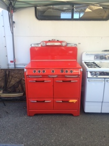 I loved this colorful stove. The guy had stoves in pink, red, blue, and classic white.