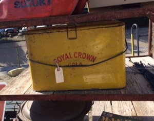 I was in love with this Royal Crown soda cooler. It was so pretty. My parents grew up near the RC Cola factory in Columbus, GA so this piece made me nostalgic.
